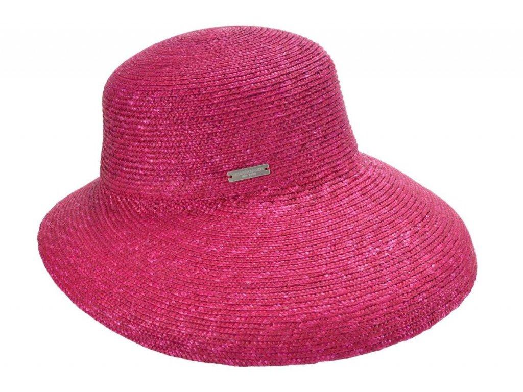 Luxusní slaměný dámský fuchsia klobouk - cloche se zkrácenou krempou vzadu