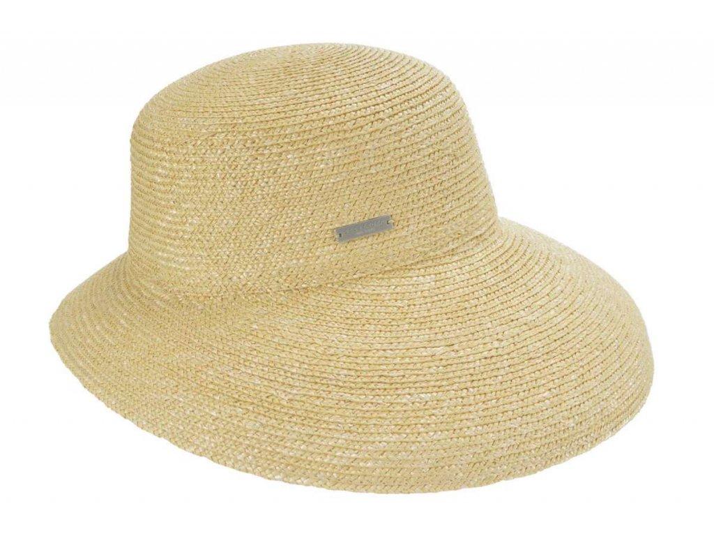 Luxusní slaměný dámský béžový klobouk - cloche se zkrácenou krempou vzadu