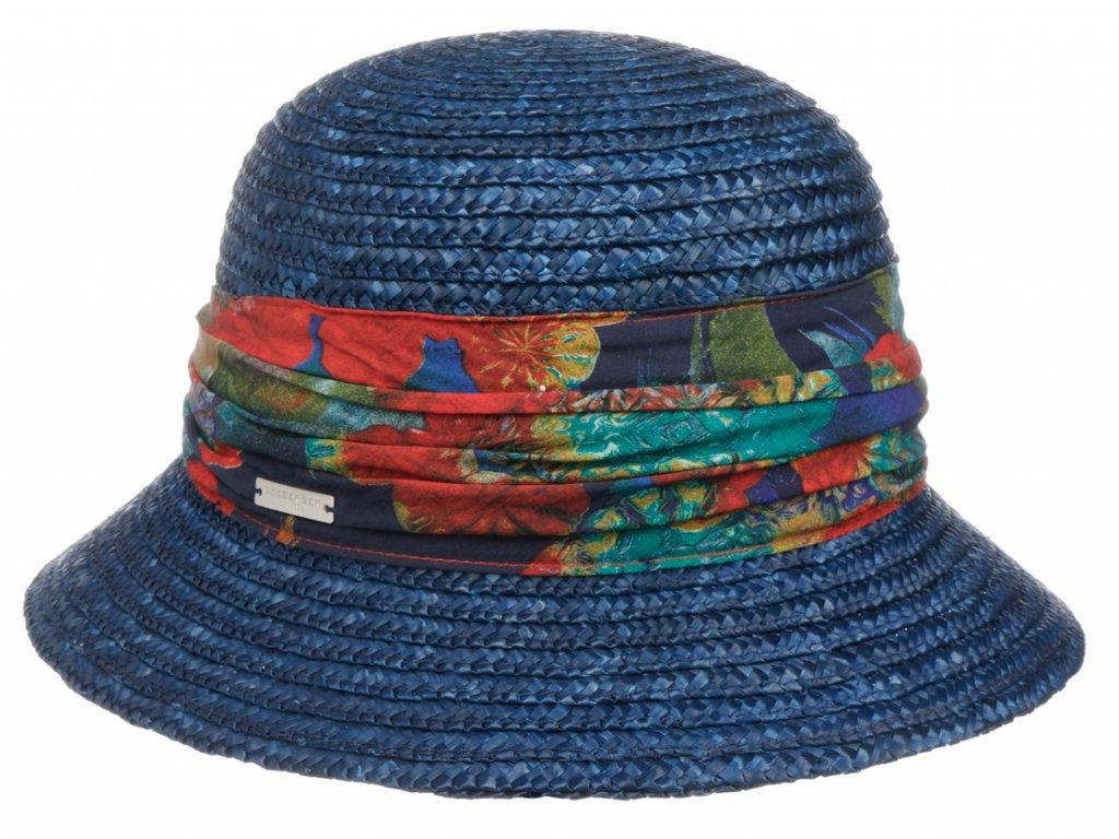 Dámský letní modrý klobouček Cloche s malou krempou a vícebarevnou stuhou, ochrana UV faktor 80