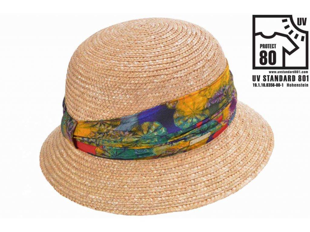 Dámský letní béžový klobouček Cloche s malou krempou a vícebarevnou stuhou, ochrana UV faktor 80