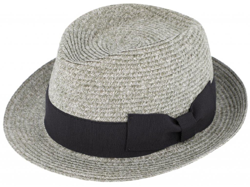 Unisex letní šedý klobouk Trilby od Fiebig se širokou grosgrainovou stuhou
