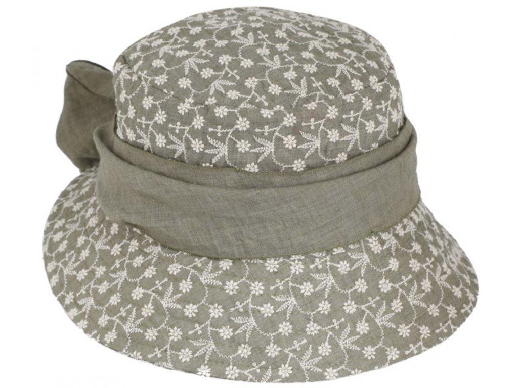 Vyšívaný bavlněný olivový klobouček cloche Fiebig 1903