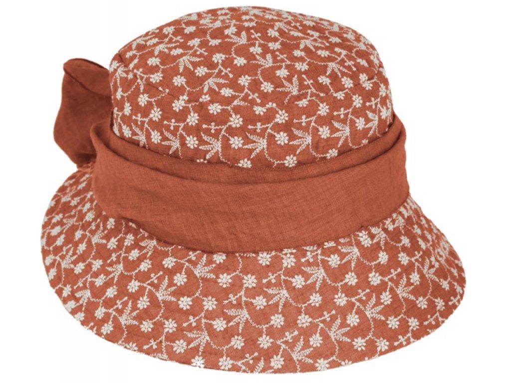Vyšívaný bavlněný skořicový klobouček - cloche Fiebig 1903