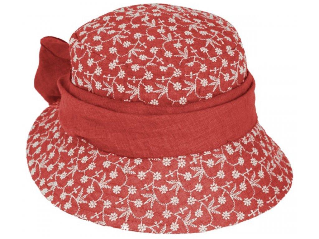 Vyšívaný bavlněný červený klobouček cloche Fiebig 1903