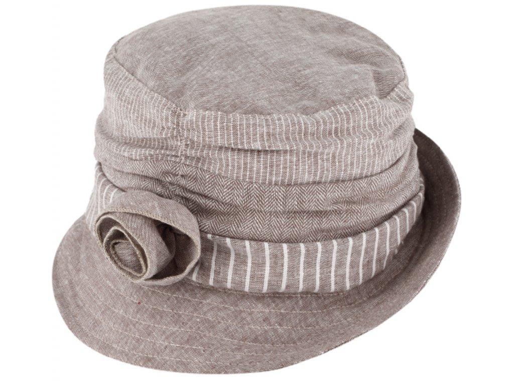 Dámský letní látkový klobouček Cloche s malou krempou