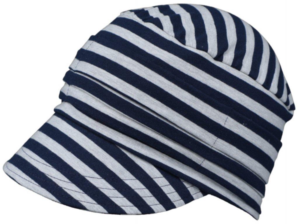 Pruhovaná čepice s kšiltem Žerzej