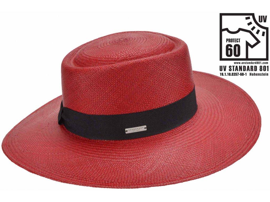 Panamský klobouk - Porkpie s širší krempou - rubínová červená - UV faktor 60