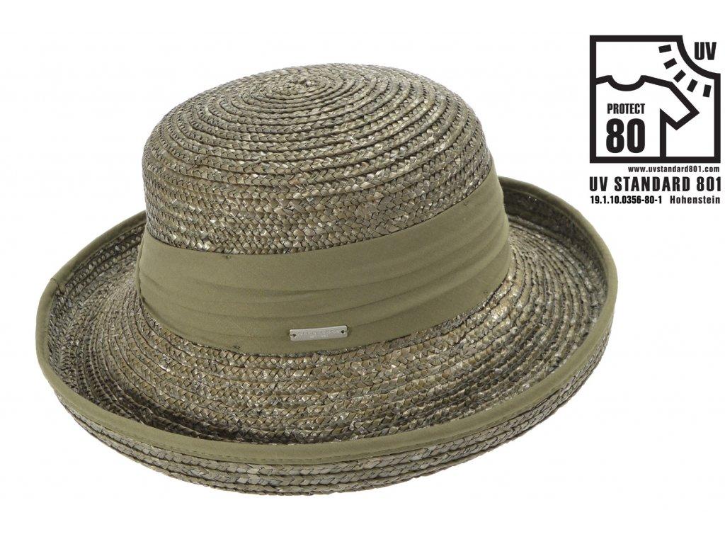Letní slaměný olivový klobouk z širší krempou - UV faktor 80