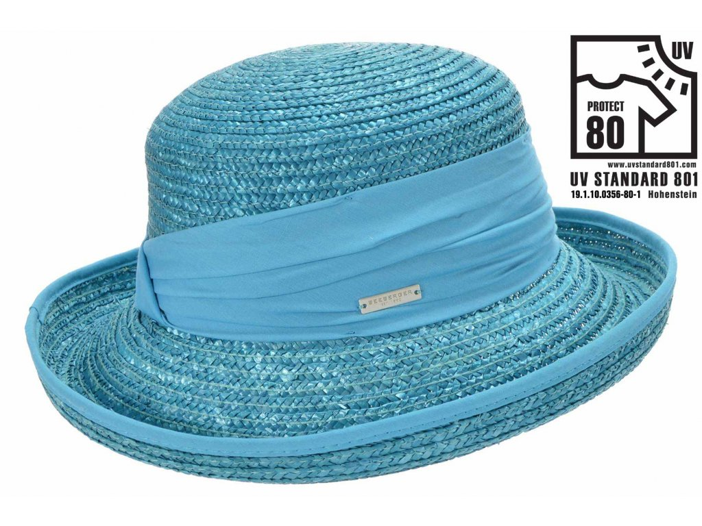 Letní slaměný tyrkysový klobouk z širší krempou - UV faktor 80