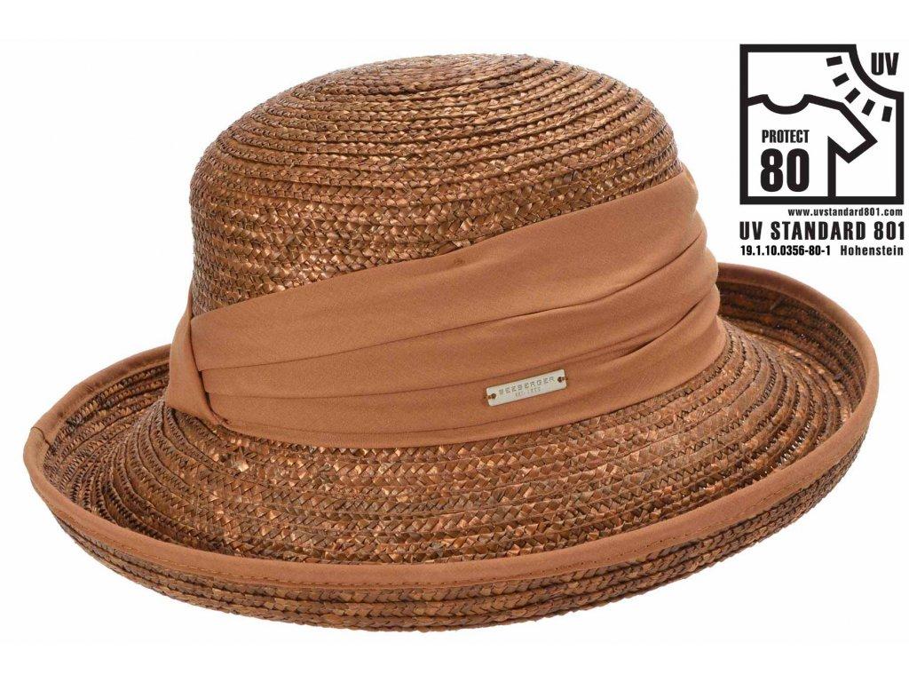 Letní slaměný hnědý klobouk z širší krempou - UV faktor 80