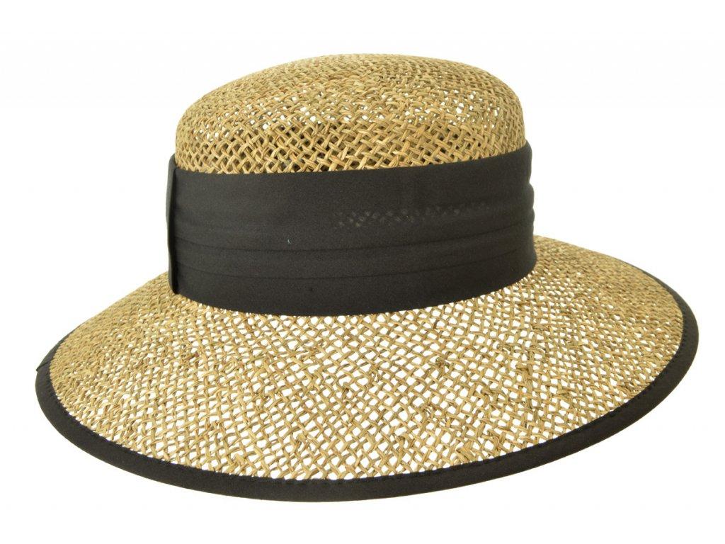 Dámský béžový letní slaměný (mořská tráva) klobouk s černou stuhou - Seeberger since 1890