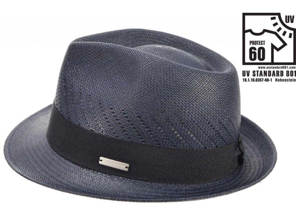 Modrý klobouk trilby - ručně pletený - Ekvádorská panama 1398414