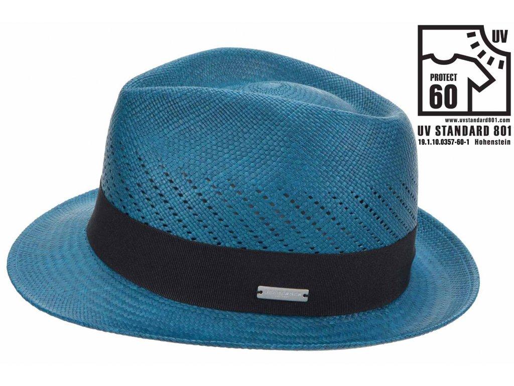 Tyrkysový klobouk trilby - ručně pletený - Ekvádorská panama 1398414