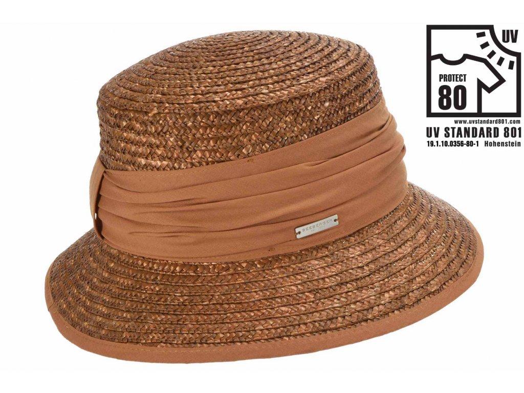 Dámský hnědý letní slaměný klobouk Bucket Hat - Seeberger bestseller
