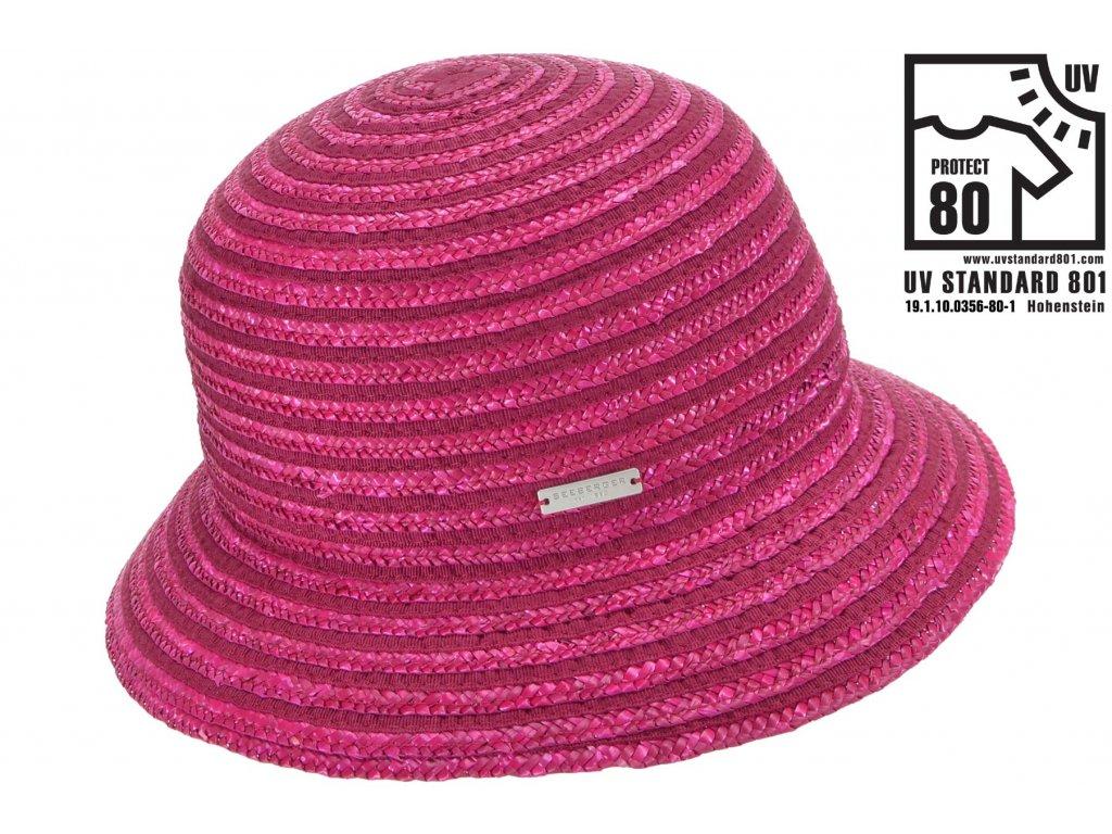 Dámský letní červenorůžový klobouček Cloche s malou krempou, ochrana UV faktor 80
