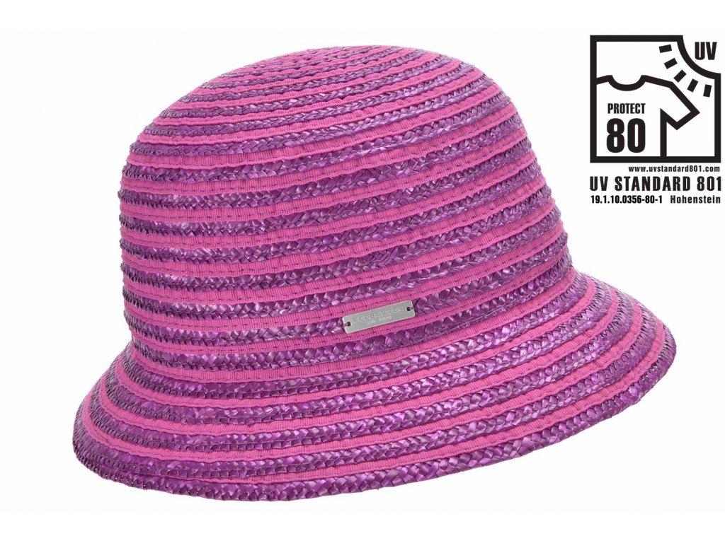 Dámský letní šeříkový klobouček Cloche s malou krempou, ochrana UV faktor 80