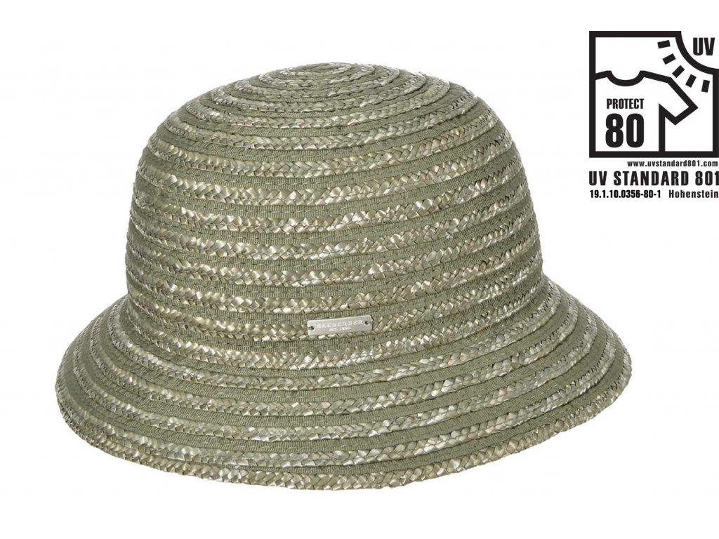 Dámský letní olivový klobouček Cloche s malou krempou, ochrana UV faktor 80