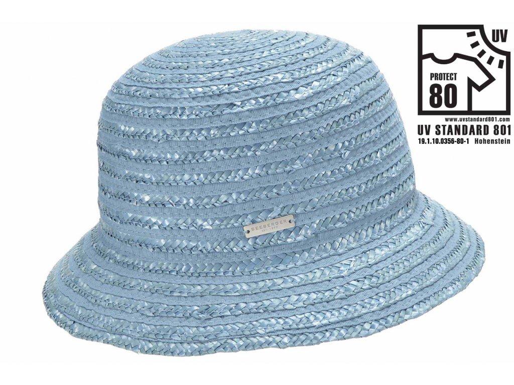Dámský letní světle modrý klobouček Cloche s malou krempou, ochrana UV faktor 80