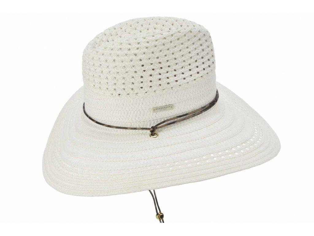 Dámský bílý letní Fedora klobouk se šňůrkou pod bradu - Seeberger