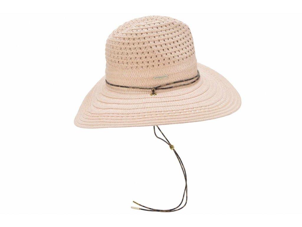 Dámský růžový letní Fedora klobouk se šňůrkou pod bradu - Seeberger