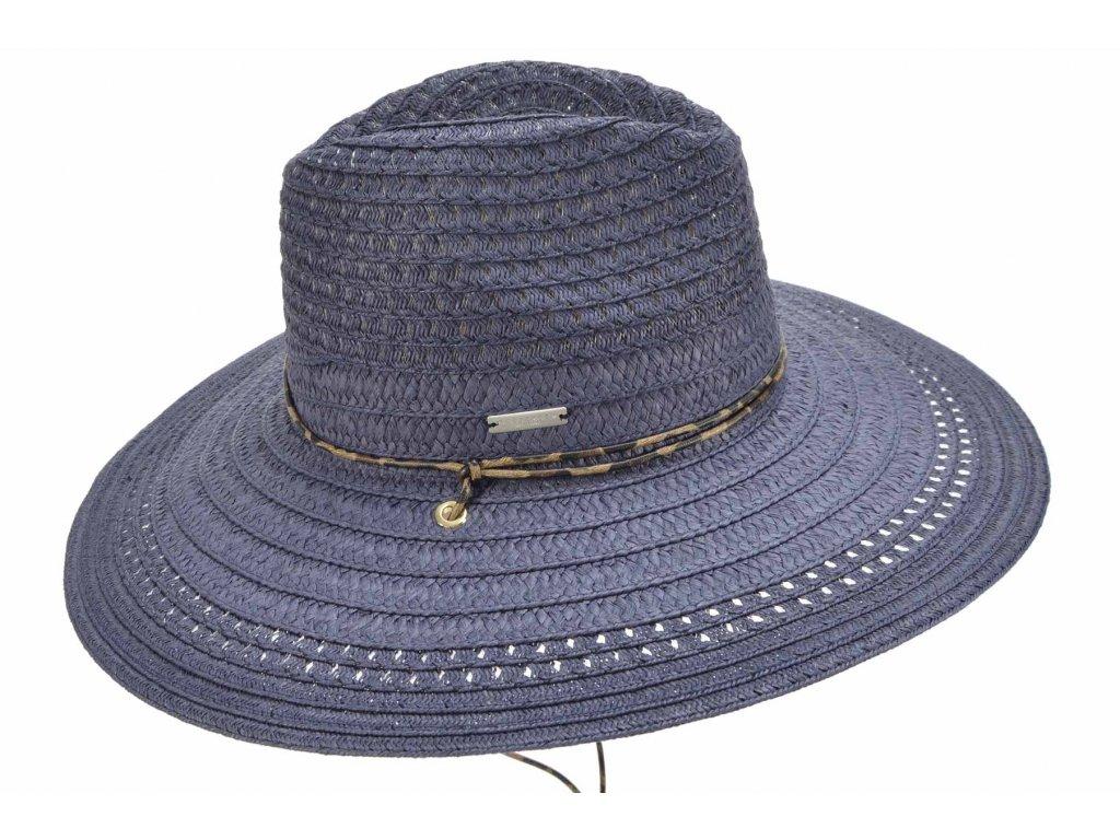 Dámský modrý letní Fedora klobouk se šňůrkou pod bradu - Seeberger