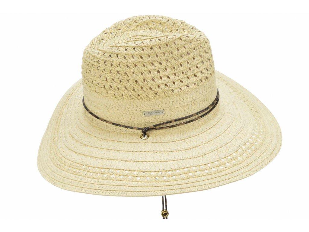Dámský béžový letní Fedora klobouk se šňůrkou pod bradu - Seeberger