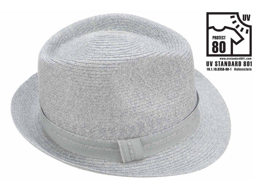 Letní šedý  klobouk Trilby se stuhou - UV faktor 80