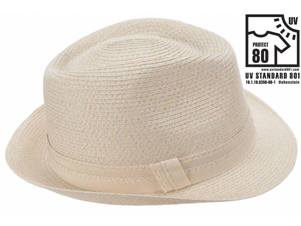 Dámský šedorůžový  klobouk Trilby se stuhou - UV faktor 80