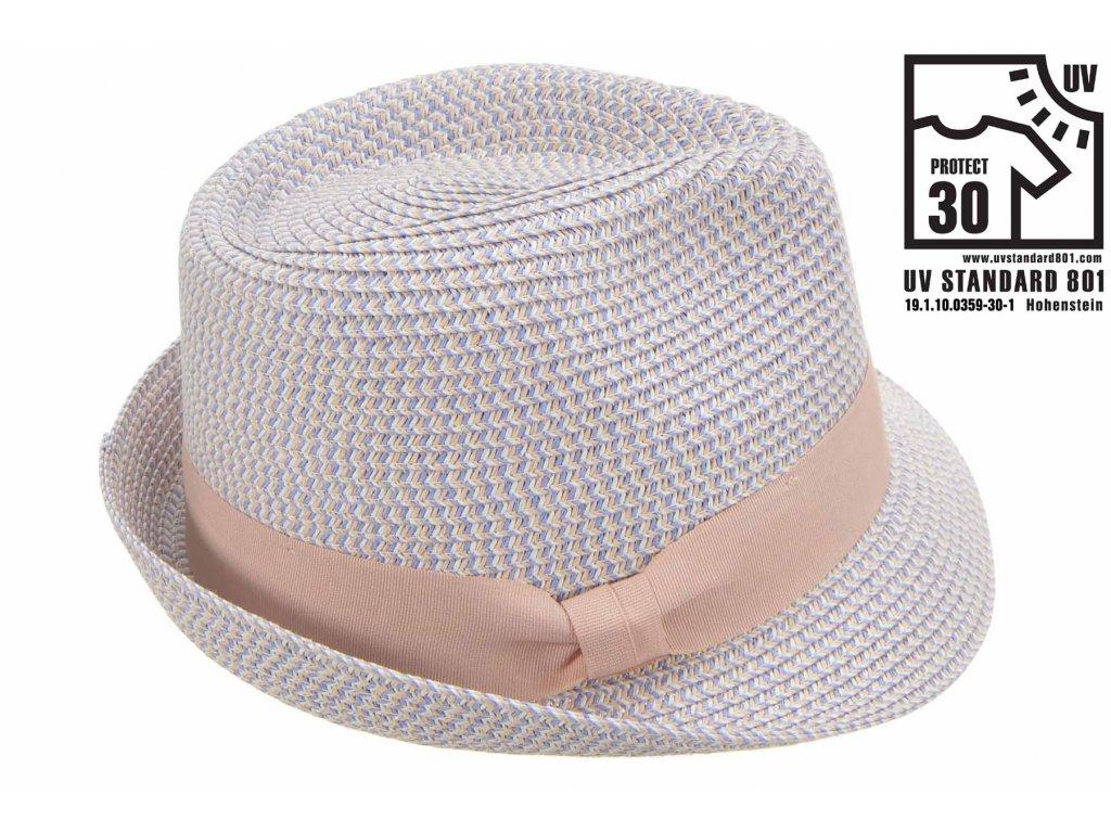 Modro růžový letní klobouk Trilby - Seeberger