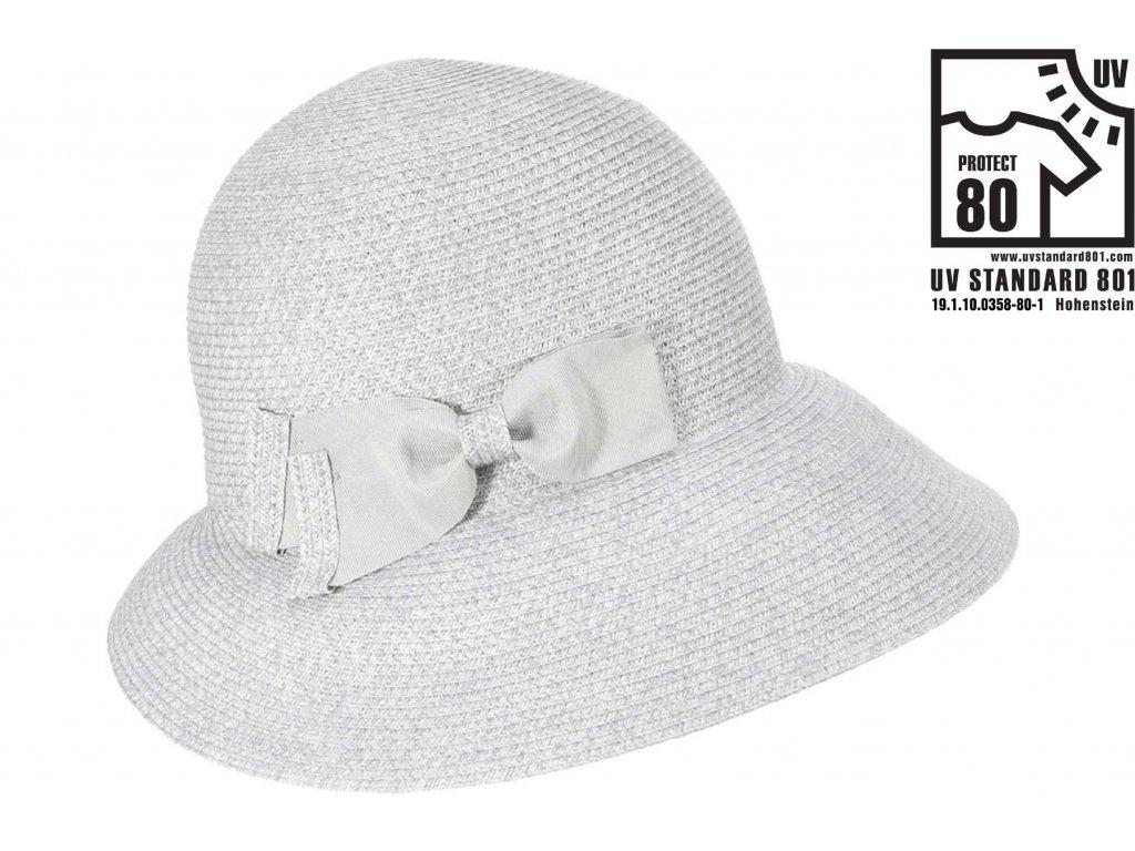 Letní dámský nemačkavý šedý klobouk - cloche se zkrácenou krempou vzadu