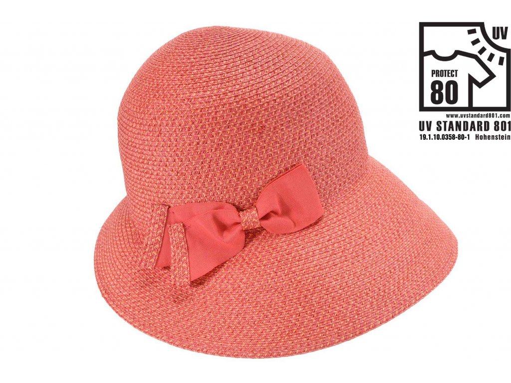 Letní dámský nemačkavý červený klobouk - cloche se zkrácenou krempou vzadu