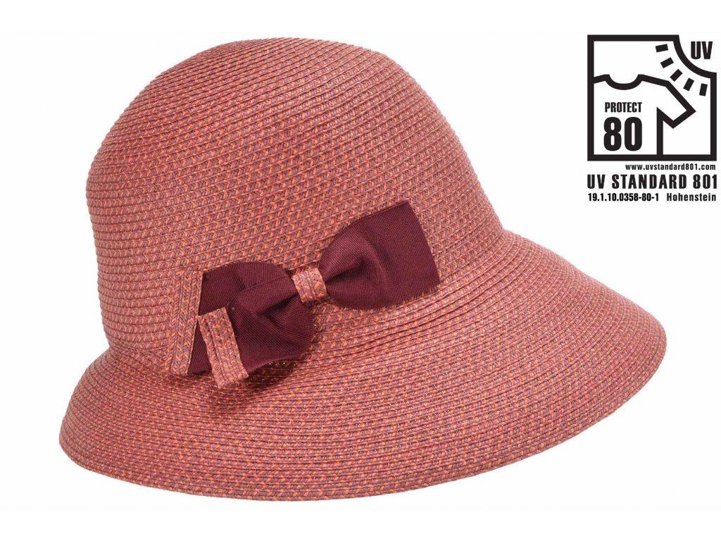 Letní dámský nemačkavý bordó klobouk - cloche se zkrácenou krempou vzadu