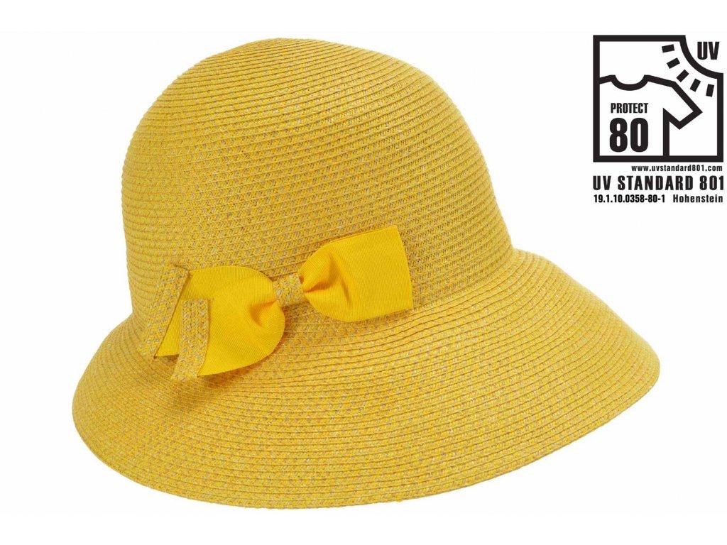 Letní dámský žlutý nemačkavý klobouk - cloche se zkrácenou krempou vzadu