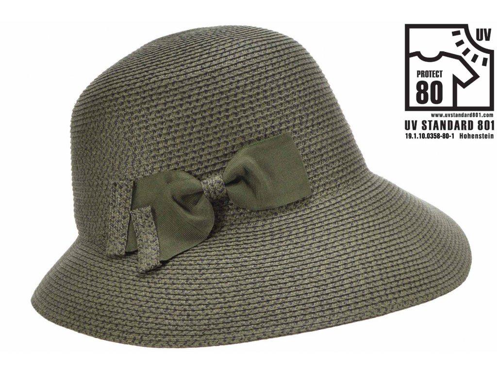 Letní dámský olivový nemačkavý klobouk - cloche se zkrácenou krempou vzadu
