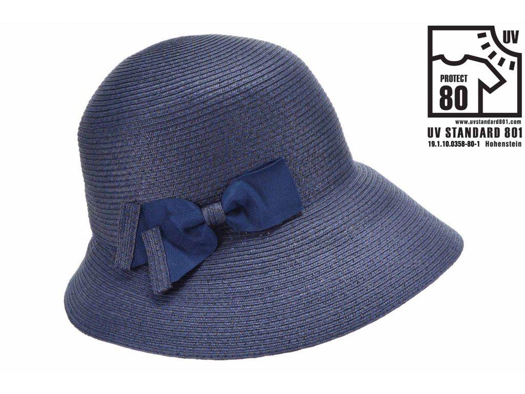 Letní dámský modrý nemačkavý klobouk - cloche se zkrácenou krempou vzadu