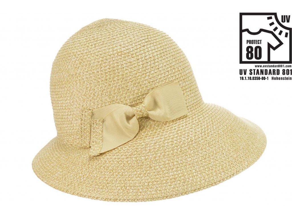 Letní dámský béžový nemačkavý klobouk - cloche se zkrácenou krempou vzadu