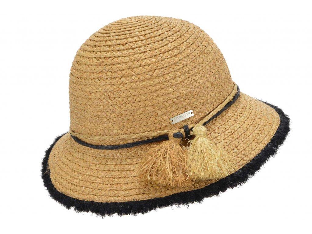 Dámský letní béžový klobouček Cloche s malou krempou s netradiční stuhou - Cloche raffia