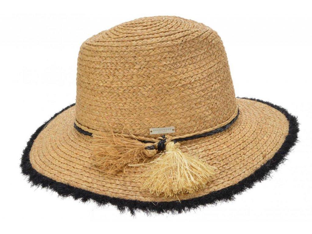 Dámský fedora letní slaměný klobouk s třásněmi - Seeberger