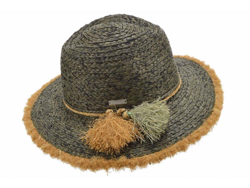 Dámský fedora khaki letní slaměný klobouk s třásněmi - Seeberger
