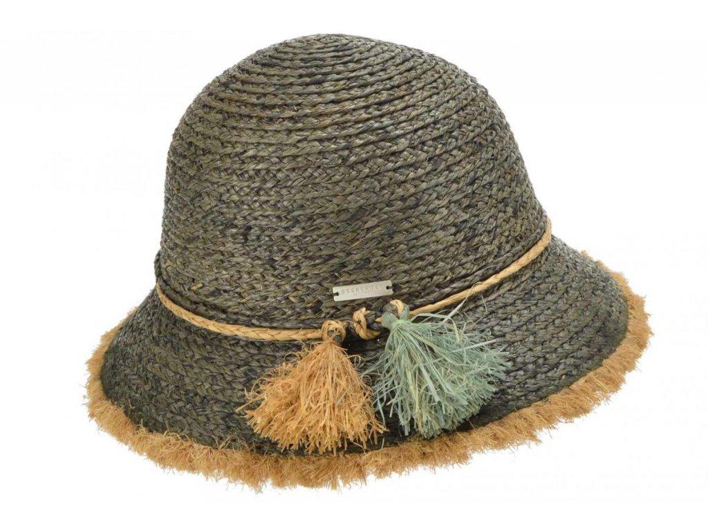 Dámský letní khaki klobouček Cloche s malou krempou a s třásněmi   - Cloche raffia