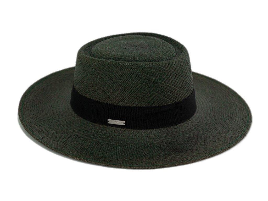 Panamský klobouk - Porkpie s širší krempou - zelený panamský klobouk - UV faktor 60