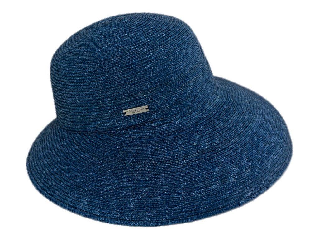 Luxusní slaměný dámský modrý klobouk - cloche se zkrácenou krempou vzadu