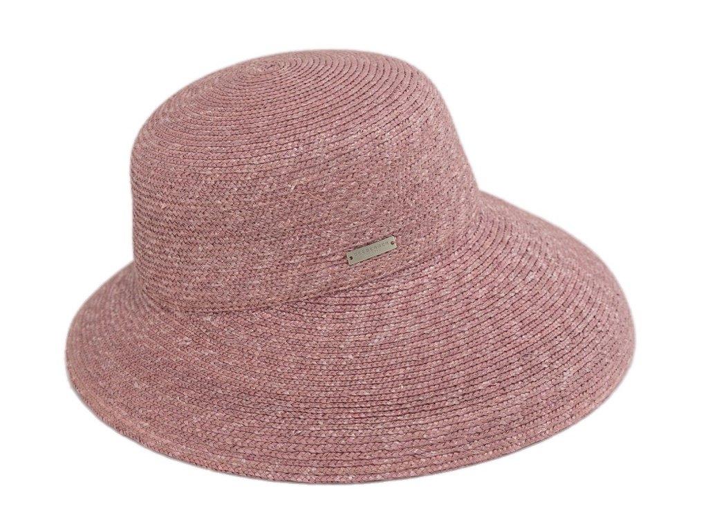 Luxusní slaměný dámský pudrový klobouk - cloche se zkrácenou krempou vzadu
