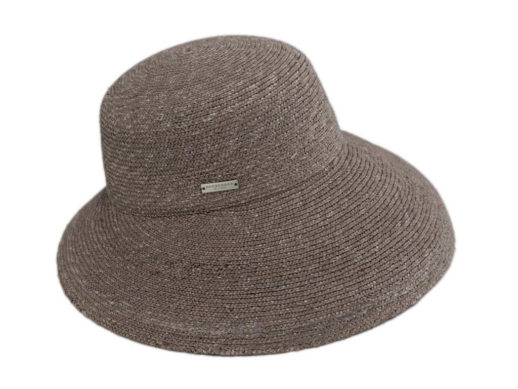 Luxusní slaměný dámský klobouk - cloche se zkrácenou krempou vzadu