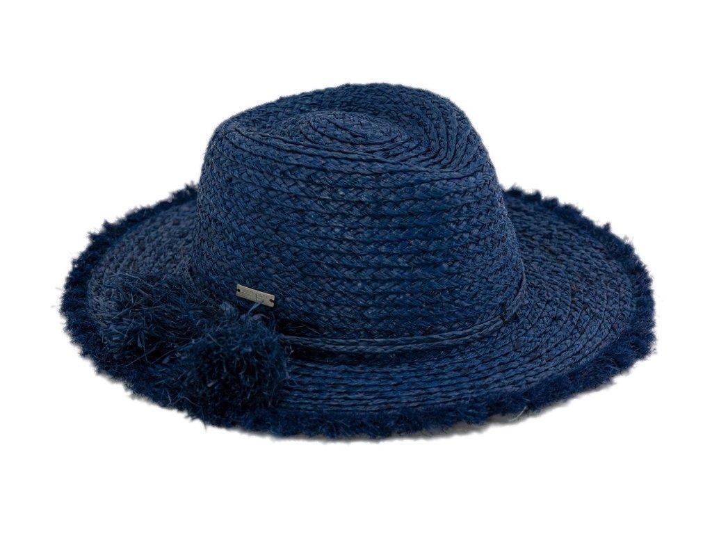 Dámský fedora letní slaměný modrý klobouk s třásněmi - Seeberger