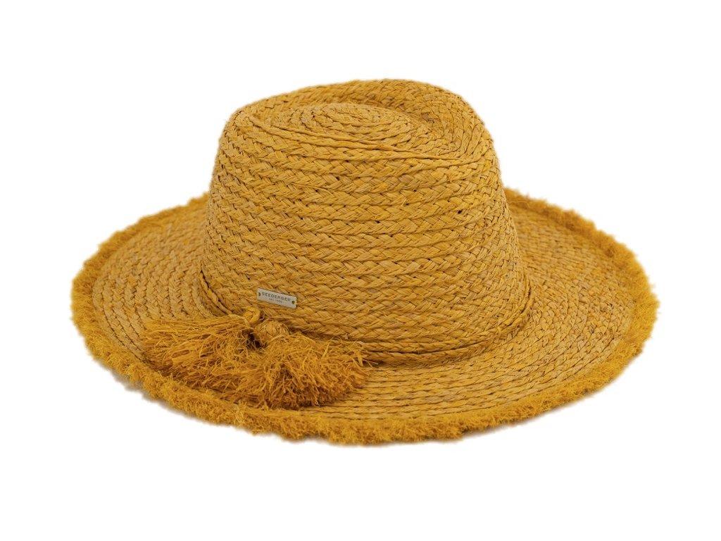 Dámský fedora letní slaměný žlutý klobouk s třásněmi - Seeberger
