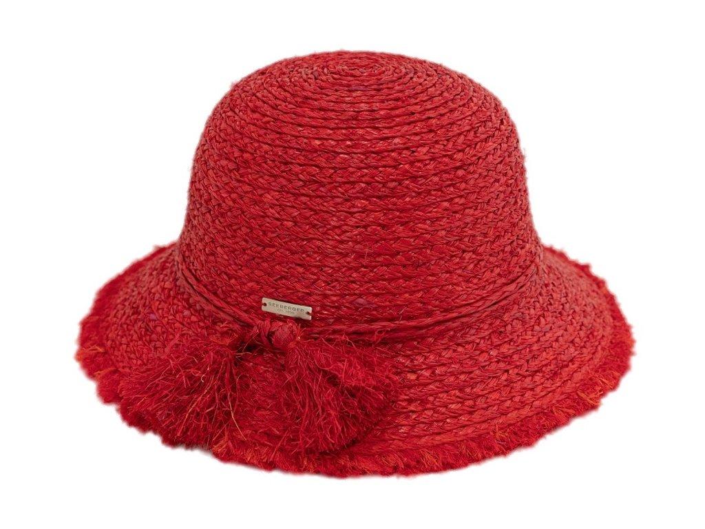 Dámský letní červený klobouček Cloche s malou krempou a s třásněmi   - Cloche raffia