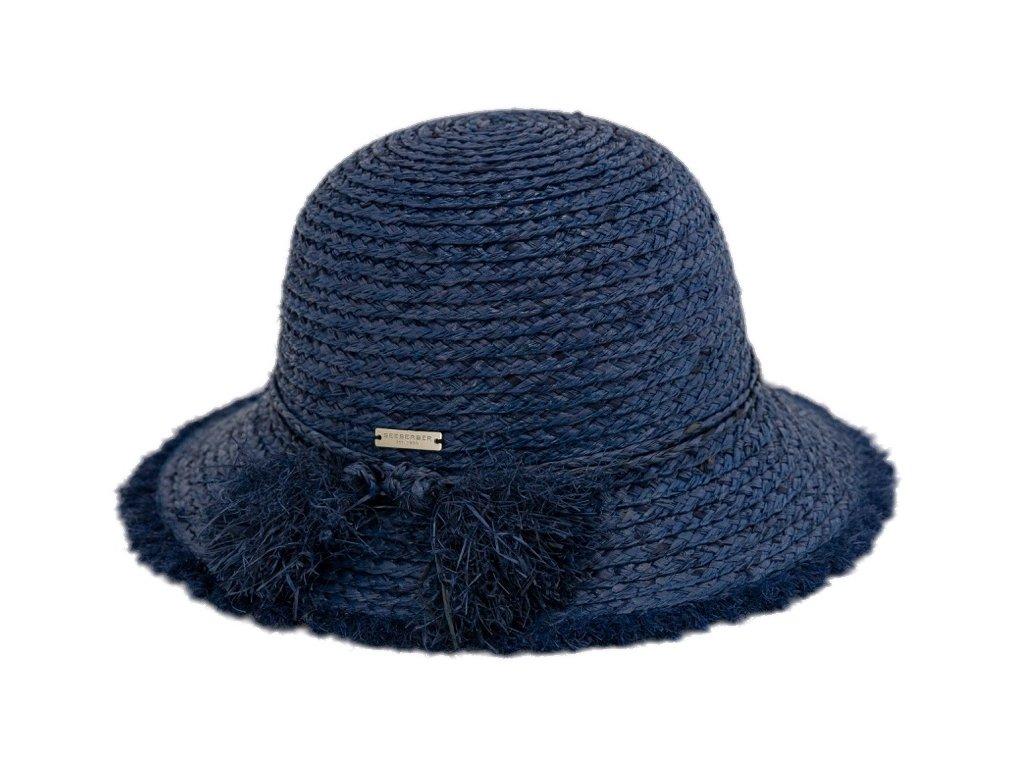Dámský letní modrý klobouček Cloche s malou krempou a s třásněmi   - Cloche raffia