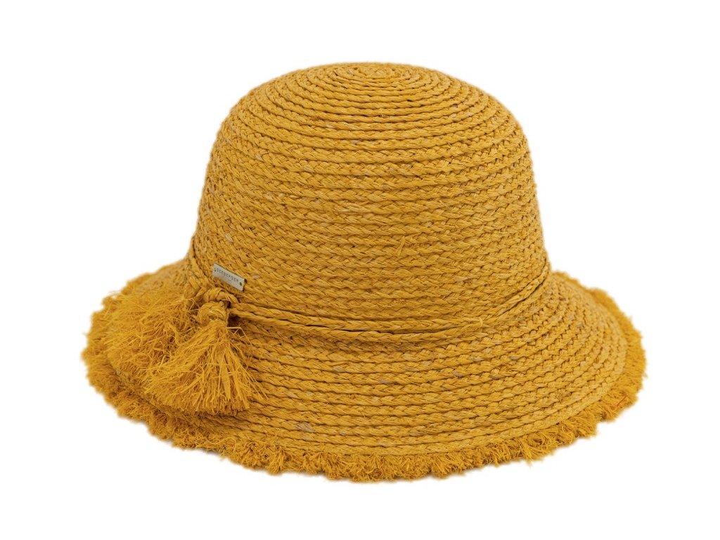 Dámský letní žlutý klobouček Cloche s malou krempou a s třásněmi   - Cloche raffia