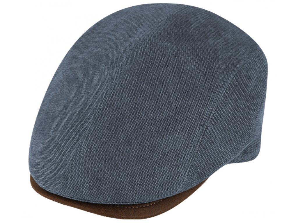 Letní retro bekovka driver cap od Fiebig Len - modrý kanvas a kůže
